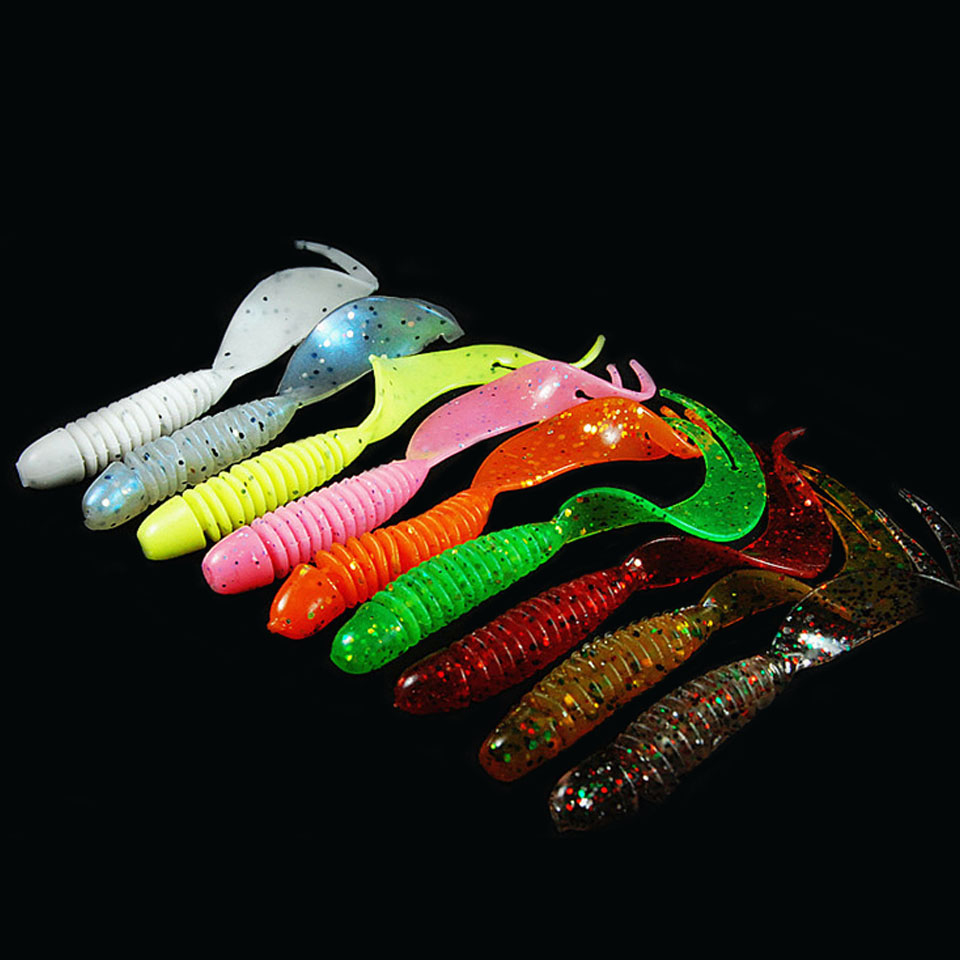 WALK FISH 10PCS/Lot Curly Tail Soft Lure 70mm 2.5g Forked Tail fishing bait grubs Plastic Maggot Fishing lure Jig Head Texas Rig fishing lure kit soft worm bait jig head worm hook weight lead sinker single tail grub 31 pieces suit for texas rig