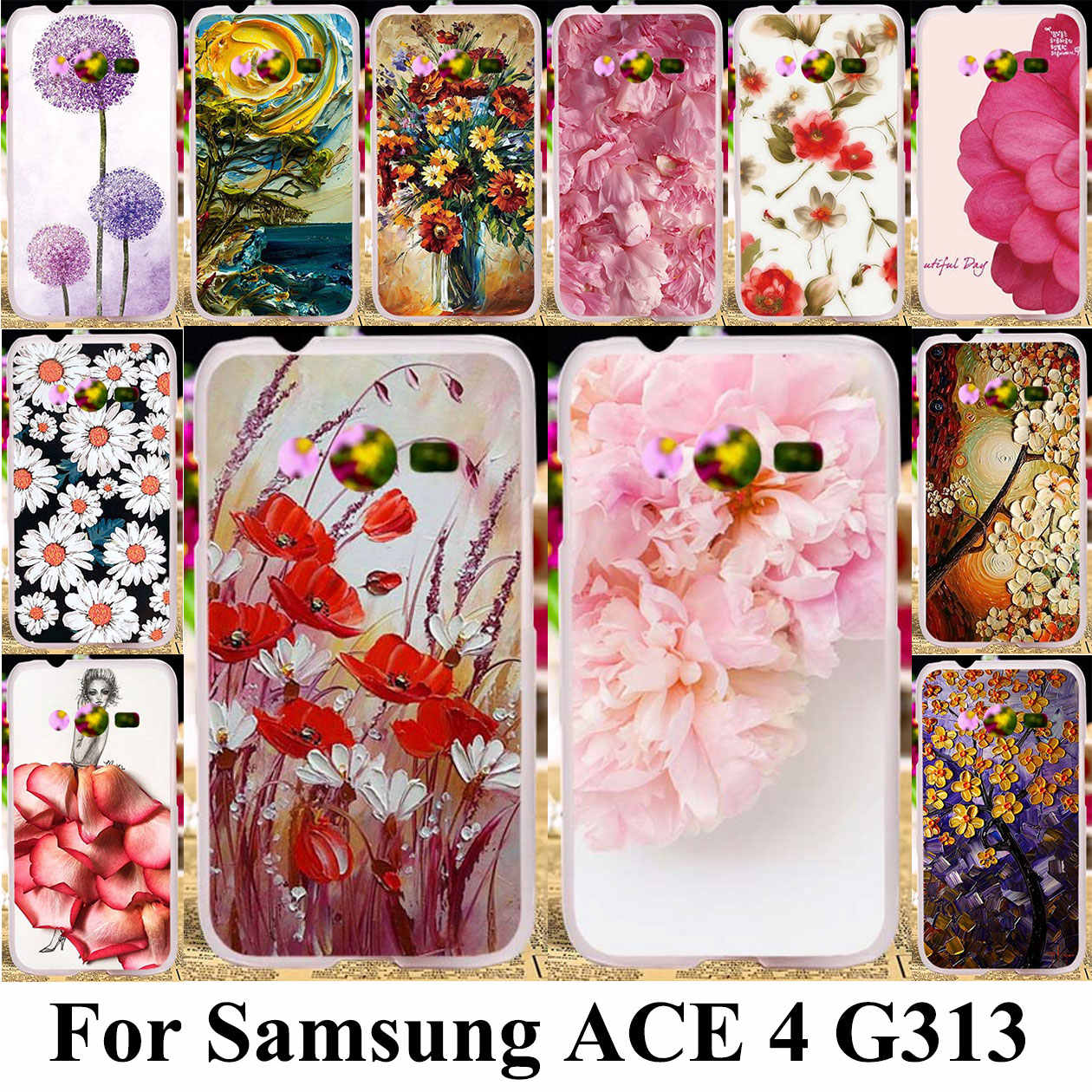 3D DIY Silicone Plastic Phone Cover Case For Samsung Galaxy ACE 4 NXT G313 G318H Trend 2 Lite G313H SM-G313H G318F Bag Shell