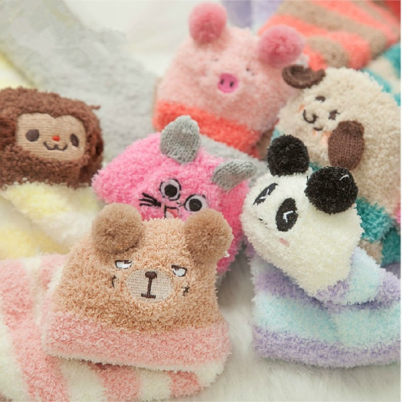 Lolita Cute Bear Sheep 3D Ears Plush Towel Thigh-High Over-knee Stocking Sock