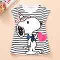 8-16A Novo 2016 meninas camiseta t-shirt Bonito Do Cão crianças roupa das crianças criança roupas de verão roupas infantis menino 100% algodão