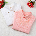 New 2016 Children's Bottoming Shirt Autumn Winter Girls Lace Tops Kid Fashion Cotton Long-sleeved Basic T-shirt Student T Shirts