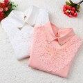 Novo 2016 Outono Inverno Camisa Assentamento das Crianças Rendas Partes Superiores Das Meninas Do Miúdo Moda Algodão Longo-sleeved T-shirt Básica Estudante T Camisas