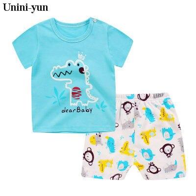 Unini-yun Store Toddler Infant Baby Girl Clothing Set Outfits Animal t Shirt Tops Short Sleeve Cartoon Shorts Pants 2pcs Set Clothes Baby Girls