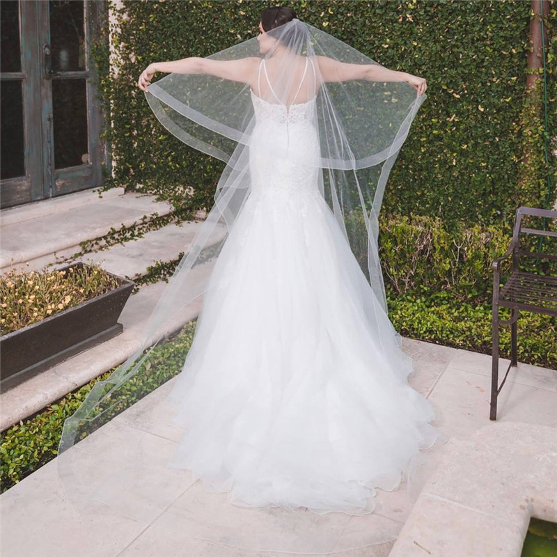 Image 3 - New Bridal Veil, Wedding Veil with comb, Cathedral Ivory Veil Blusher Two Tier Veil with 2 inch Horsehair Trim, 108 inches-in Bridal Veils from Weddings & Events