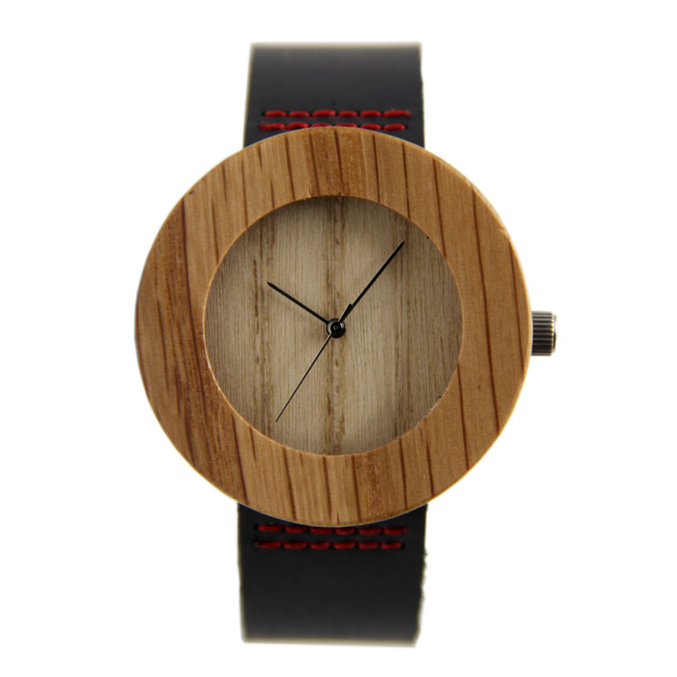 New arrival japanese miyota 2035 movement watches red genuine leather bamboo wooden watches for men and