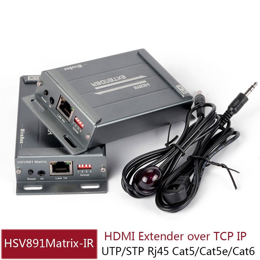HSV891Matrix TCP IP HDMI IR Extender N x N 100m/120m/150m over Cat5/5e/Cat6 UTP STP Rj45 HDMI Transmitter and Receiver Over IP hdv e100 dc 5v 12v 120m hdmi extender cat 5e 6 with ir and tcp ip us uk eu plug