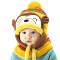 2017 New Baby Boy Girl Caps And Scarf Cute Monkey Cartoon Warm Thicken Winter Fashion Hot Sale Kids Hats 5 Color Ear Care