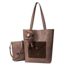 2016 new winter women handbag scrub pu leather composite bag casual fashion totes shoulder bag bear pendant messenger bags