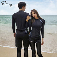 Sport Rash Guards Men Women 5 Pieces Long Sleeve Shirt Shorts Pants Couples Swimwear Surfing Bathing Suits Rashguard Wetsuits
