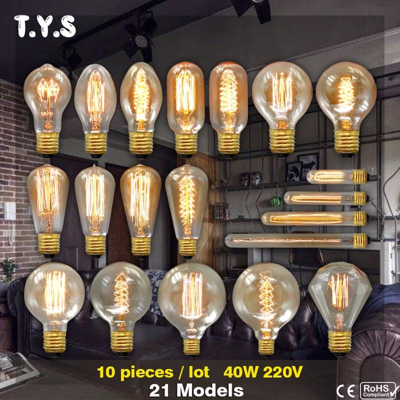 10pc TYS Lampada Edison Bulb Lamp Light Vintage Socket 40W Outdoor Lighting Filament 220V Bulb Rope Pendant Lamp Retro Luminaria