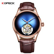2018 Men Tourbillon Hollow Mechanical Watch Rose Gold Stainless Steel Dial Analog Clock Leather Mens Watches Free Gift Wood Box