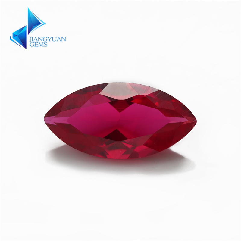 Fabrikkpris Størrelse 3x6 ~ 8x16mm Maquise Cut 5 # Red Stone Synthetic Corundum Gems Stone For smykker