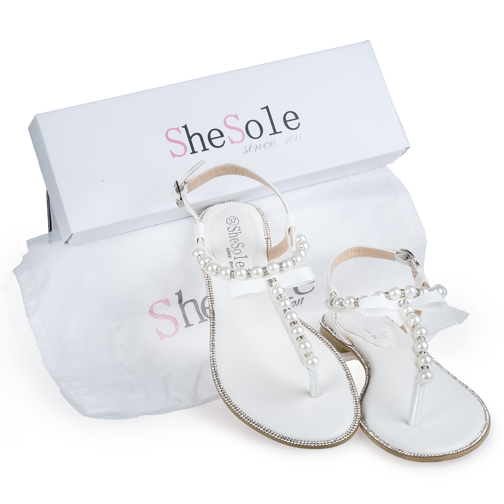 fc85777e5 White wedding flat sandals bridal pearl shoes women flip flops diamond  rhinestone pu leather beach beaded sandle Brand SheSole-in Women s Sandals  from Shoes ...