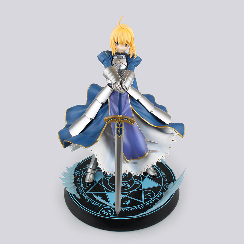 Kissen New Version Fate Stay Night Saber Lily Boxed 23cm PVC Action Figure Model Collection Toy Gift Figma B224 alen new hot fate stay night racing girl black blue white saber throne pajamas action figure toys collection christmas gift doll
