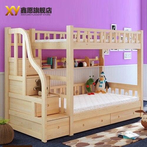Los niños muebles de madera de pino litera madre y niño foto cama ...