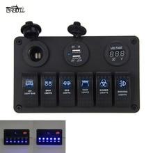 12V 24V 6 Gang Waterproof Car Marine Boat Circuit Blue LED Rocker Switch Panel Breaker