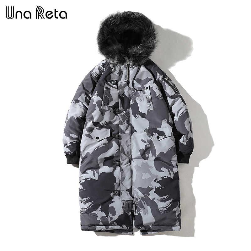 Una reta/зимняя длинная Мужская куртка с капюшоном и меховым воротником, мужские куртки и пальто, Новая повседневная мужская Камуфляжная парка, мужская куртка, большие размеры 5XL, пальто в стиле хип-хоп