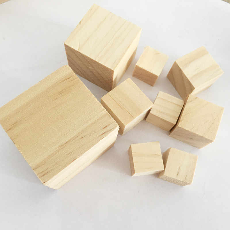 10/15/20/25/30/35/40mm Wooden Square Blocks Mini Cubes Embellishment for Woodwork Craft DIY
