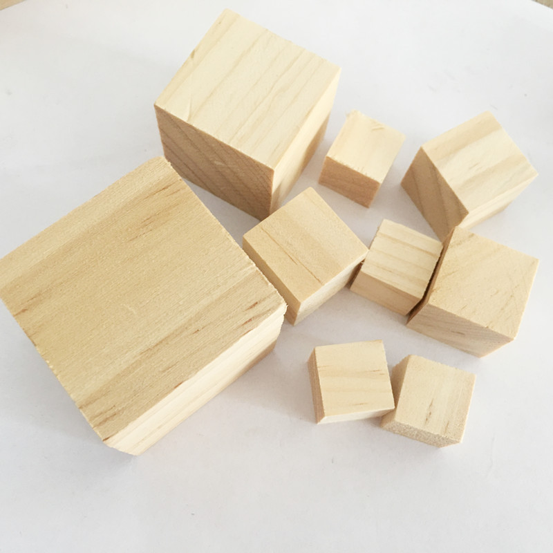 2 x Chunky Rustic Solid Wooden Display Blocks Bases oak color 100mm x 88mm x38mm