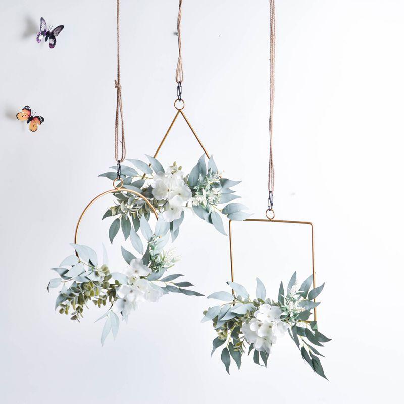 Geometric Metal Garland Home Decoration Simulation Hydrangea Backdrop Wall Ornament Wreath Garden Office