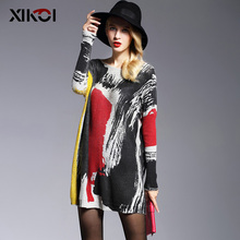 New High Quality Womens Sweaters Fashion Batwing Sleeve Print Slash Neck Pullovers Computer Knitted Sweater 6126