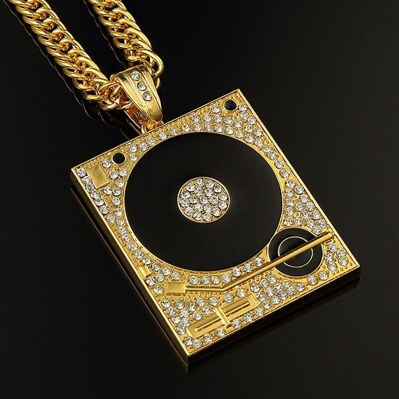 Dj phonograph big pendant necklace hiphop chain artistic pod dj phonograph big pendant necklace hiphop chain mozeypictures Choice Image