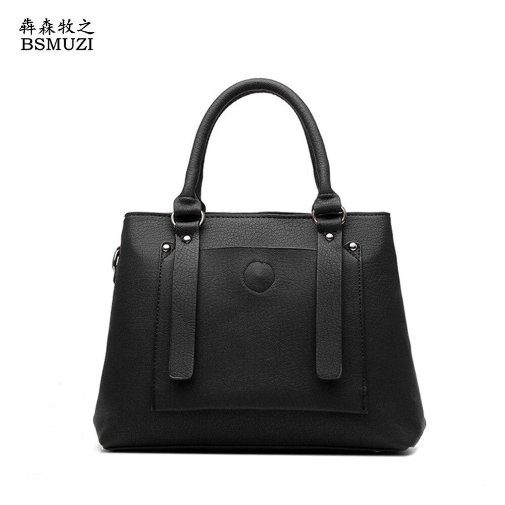 ФОТО 2016 New Casual Tote Women Handbags PU Leather Bags For Women Famous Brand Women Messenger bags Retro Women's Shoulder Bags