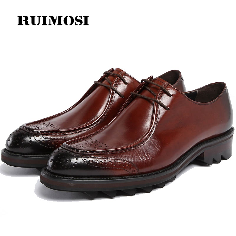 RUIMOSI 2017 New Formal Man Flat Platform Dress Shoes Genuine Leather Designer Oxfords Luxury Brand Men's Footwear For Male JD85