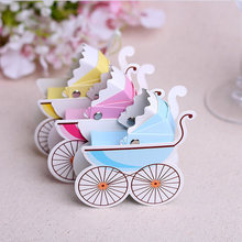 Free shipping 60pcs/lot Candy Packing Baby Stroller Favor Box in pink yellow and blue color Party Favors Baby Showers