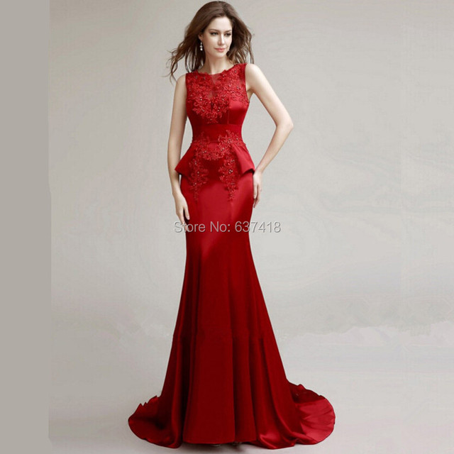 Mermaid Long Red Satin Evening Dress with Lace Appliques and Sequins Red  Prom Dress Vestidos de Noche Largos 6a7213df3070