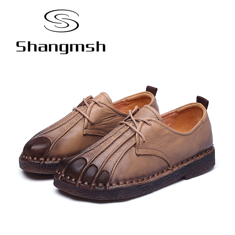 Shangmsh 2017 Autumn Large Size 42 Ladies Flat Shoes Genuine Leather Cow Muscle Soft Moccasins For Women Lace-up Casual Footwear shangmsh shoes for women 2017 new autumn