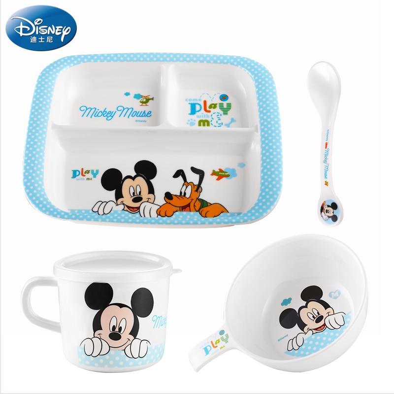 4pcs set disney children tableware mickey mouse minnie plate kids