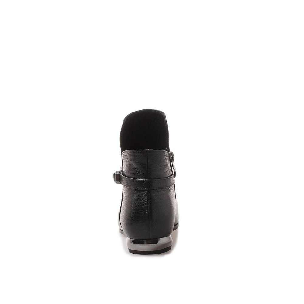 Lenkisen/большие размеры; Изящные женские ботильоны из натуральной кожи с острым носком на низком каблуке, на молнии, черного цвета, в стиле пэчворк, с пряжкой и ремешком; L3f4