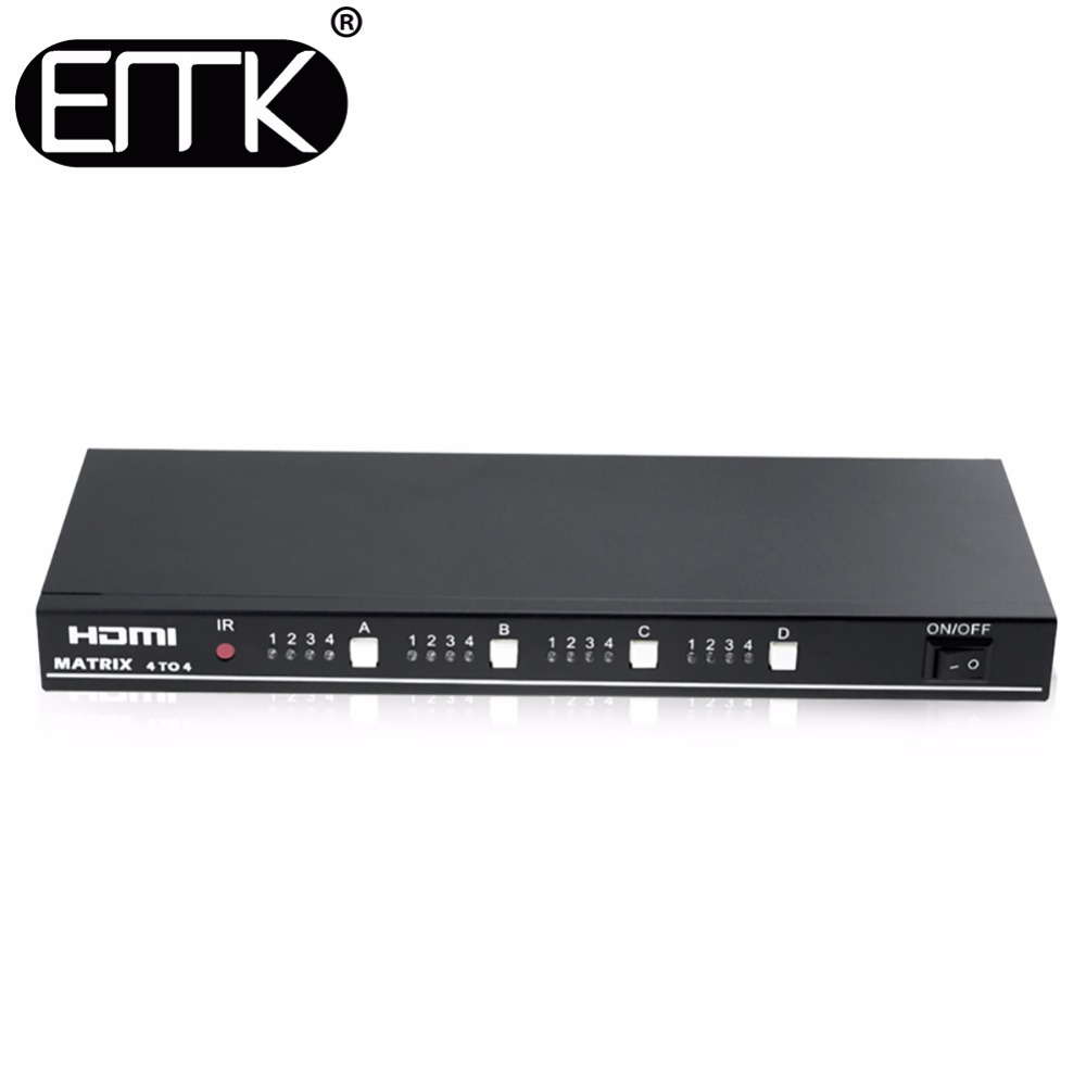EMK 4x4 HDMI TV Matrix 4 input 4 output True Matrix Switch Splitter support 1920x1080 60Hz