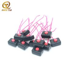 10pcs Universal Horn Button Switch 12-48V Car Moto Button Horn Copper Wire Motorcycle Electronics Horns Switch Black Red 3M Glue