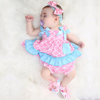 2019 newest Baby Swing Top Baby Girls Clothing Set Infant Ruffle Outfits Bloomer Headband Newborn Girl Clothes Sets