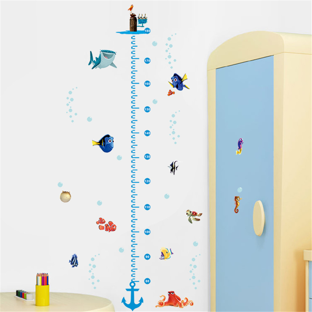 Sea Fish World Height Chart Measurment Kid Wall Decal Removable Vinyl Sticker
