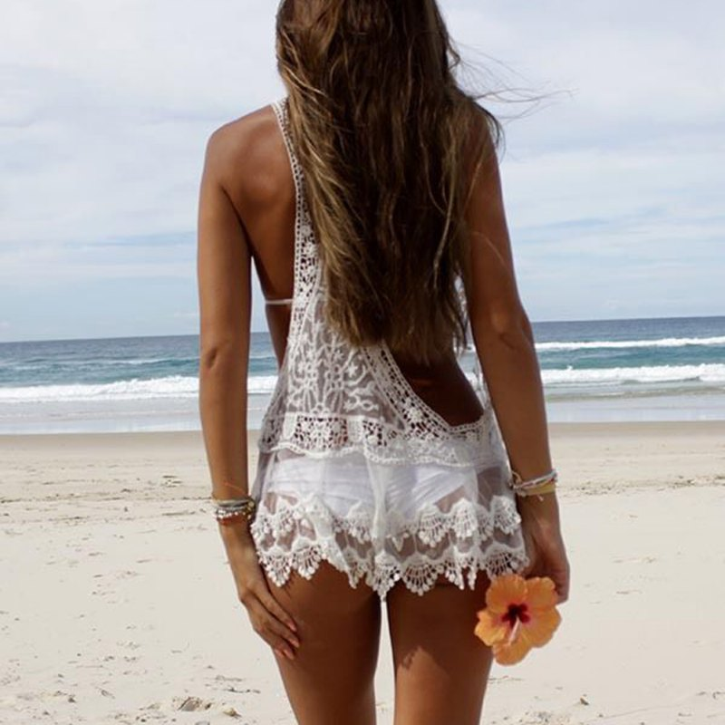 Women Sexy Lace Crochet Bikini Cover Up Swimwear Summer Bathing Suit Beach  Shirt White Blouse A7 A8-in Blouses   Shirts from Women s Clothing on ... 5fde5ed016