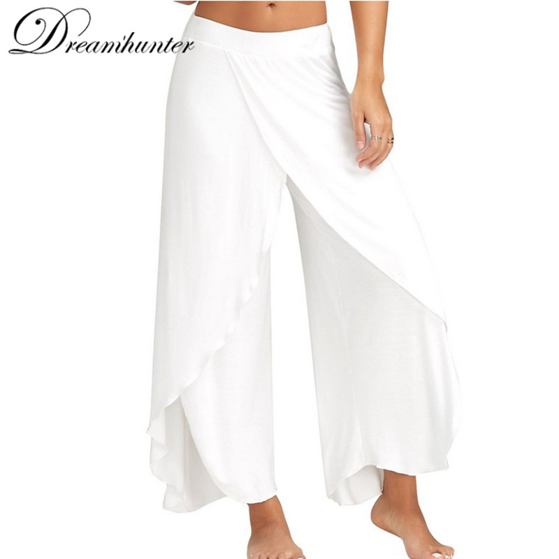 Wide Leg   Pants   Women   Capris   Solid Loose Bloomers Fitness Dance Wears Split Trousers Plus Size Harem Yo ga   Pants   Elastic Palazzo
