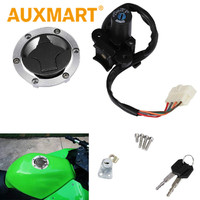 Auxmart Motorcycle Ignition Switch Lock Fuel Gas Cap Cover Seat Lock Keys Set for Kawasaki Ninja 250R 300 EX250 300