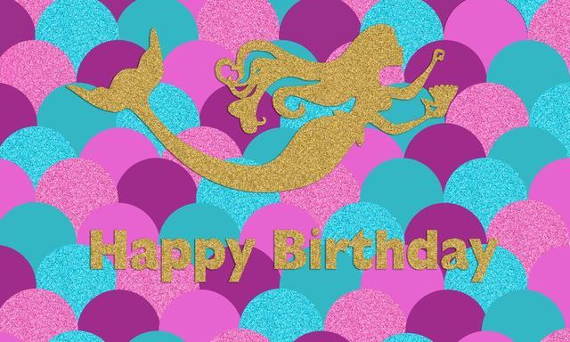 Huayi Girls Mermaid Birthday Party Backdrop Photography Background