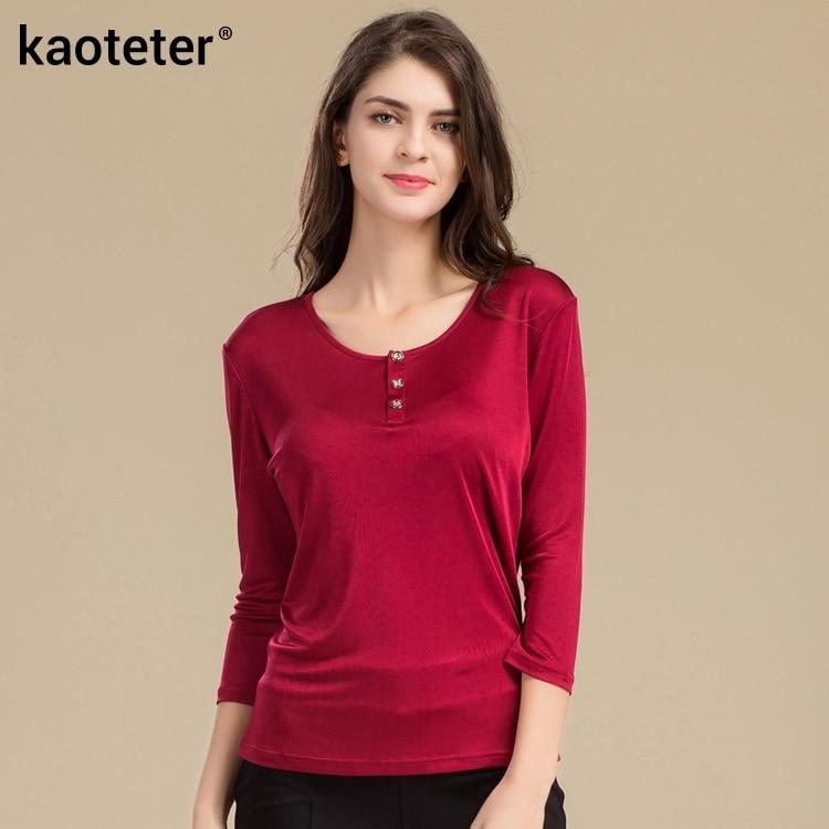 100 ٪ الحرير الخالص المرأة القمصان فام 3/4 كم فضفاض عادية تيز قميص المرأة قمم السيدات حلوى لون قميص أنثى تي شيرت