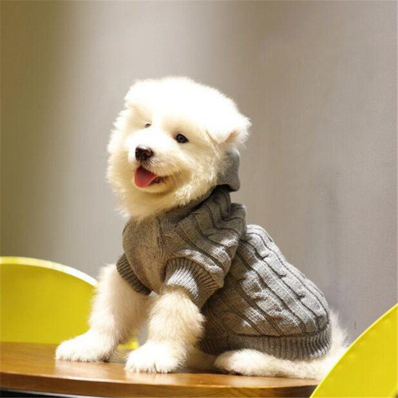 Solid Dog Sweater Pullover Clothes For Dogs Pug Shih Tzu Hooded Pet Sweater For Cat Knitted Clothing Sweaters Costume Jacket in Dog Sweaters from Home Garden