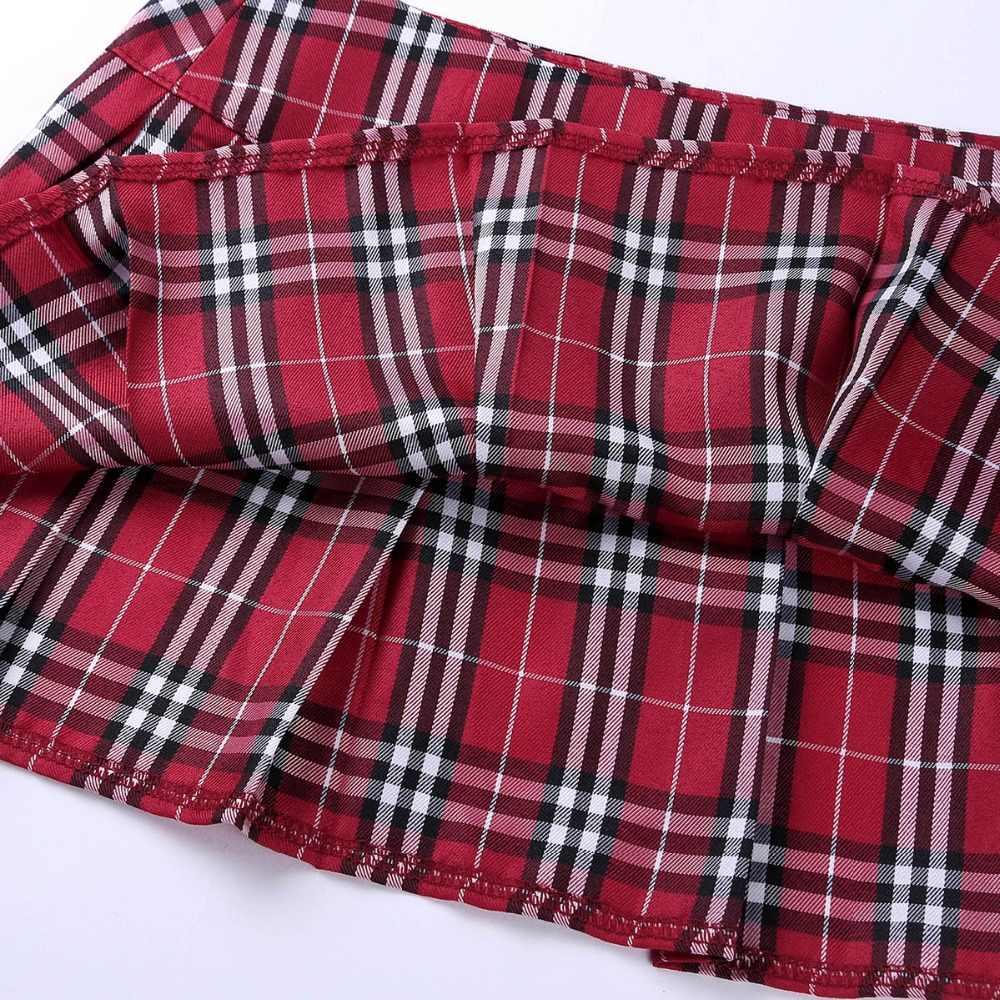 b1adf6978 Las mujeres colegiala Mini falda a cuadros juego trajes de lencería faldas  Sexy vestido de Maxi falda de noche las partes