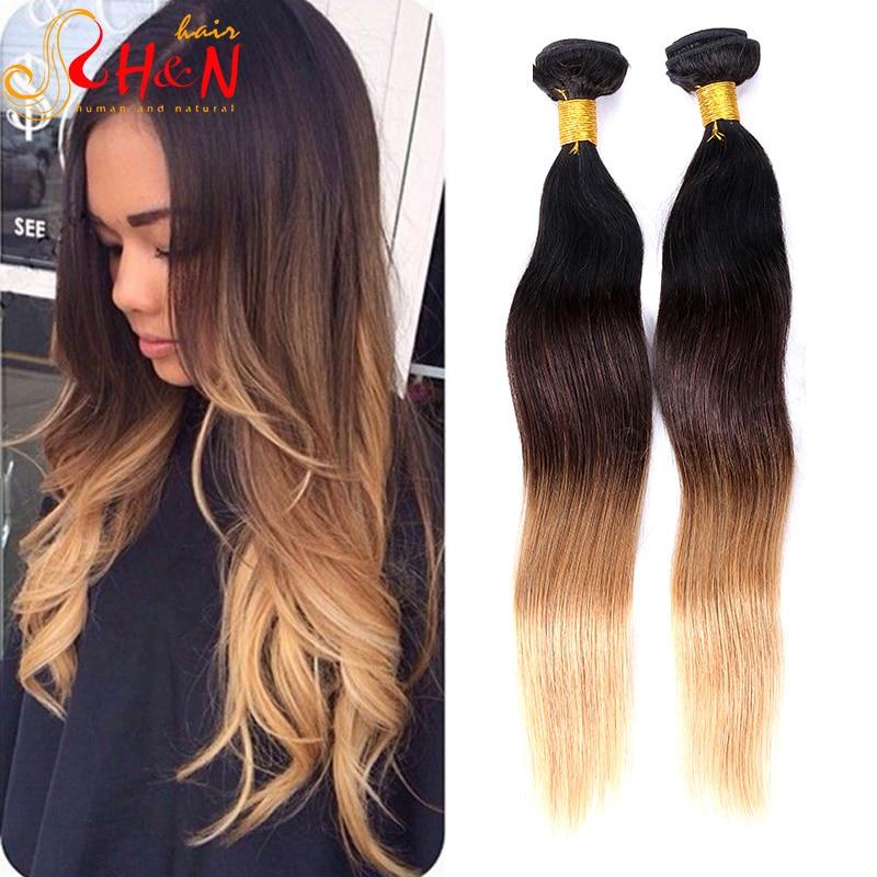 Ombre Hair Brown To Blonde Brazilian Virgin Hair Straight