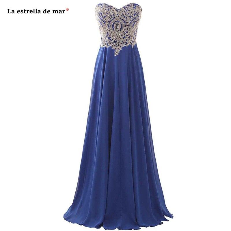 Vestido Madrinhas De Casamneto2019 New Chiffon Applique Diamonds Off The Shoulder A Line Royal Blue Gold Bridesmaid Dress Floor