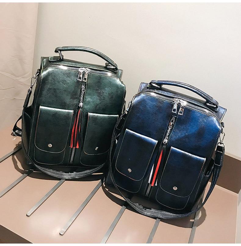 HTB1QGiFaovrK1RjSspcq6zzSXXaq Retro Leather Women Backpack Zipper School Backpacks For Teenage Girls Bag Large Capacity Multifunction Mochila Feminina XA227H