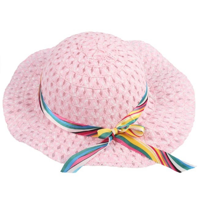 Hotselling Kids Girls Baby Lace Node Brim Summer Beach Sun Straw Hat Cap Princess basin caps Children Sun caps nq670941