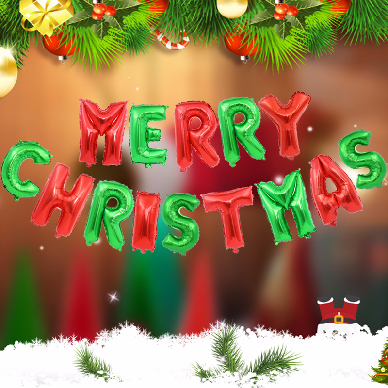 Christmas Party Decorations.Us 4 63 35 Off New 14pcs Lot Christmas Party Decorations Supplies Red Green Merry Christmas Colorful Letters Aluminum Balloons In Ballons