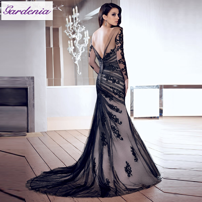 3022e92fb4d86 Designers Black Mermaid Backless Ladies Long Evening Party Wear Gown Long  Sleeve Lace Evening Gown In India (AS005)-in Evening Dresses from Weddings  ...